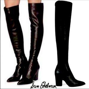 SamEdelman Black Leather Over Knee Heel Boots NWOB